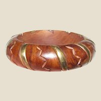 Chunky Vintage Carved Wood & Brass Bangle