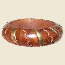 Chunky Vintage Carved Wood & Brass Bangle
