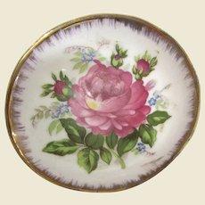 Pretty Rose Trinket Dish w/ Gilt Edges, Japan