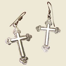 Mexican Hand Engraved Sterling Cross Earrings