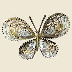 Vintage European 800 Silver Filigree Butterfly Brooch