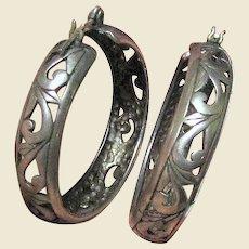 """Bold 1 1/4"""" Sterling Filigree Floral Pierced Hoop Earrings"""