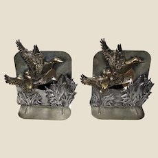 Vintage Brass & Pewter Duck Bookends by Metzke