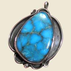 Vintage Native American Kingman Turquoise Pendant, Beautiful Intense Color!