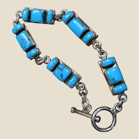 32 Gram Mexican Sterling & Turquoise Link Bracelet