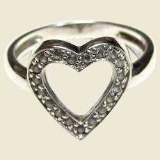 Sterling Open Heart Ring w/ Pave Set CZ's, Sz 6