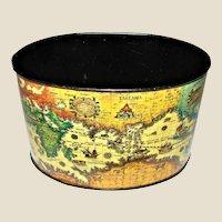 1960's Lithograph Tin Old World Map Desk Organizer
