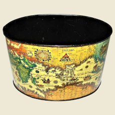 1960's Lithograph Tin Old World Map Desk Organizer
