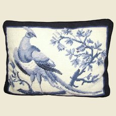 Colonial Williamsburg Peacock Design Wool Needlepoint Pillow