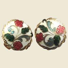 Cloisonne Clip Back Earrings w/ Art Nouveau Style Floral Design