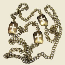 """70"""" Goldtone 1970's Chain & Cross Necklace"""