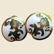 Cloisonne Clip Back Earrings w/ Flower & Butterfly Design