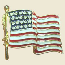 Large Rhinestone & Enamel American Flag Pin