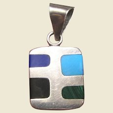 Mexican T5-45 Sterling Pendant w/ Gemstones, 10.3 grams