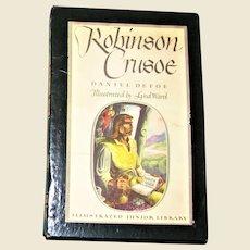 1946, Robinson Crusoe Daniel Defoe Illustrated Jr. Adventure Classic, Hardcover with Slipcover, Nearly Mint