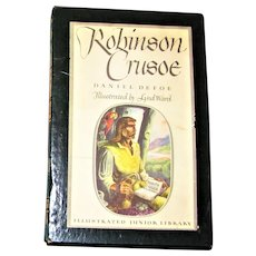 1946, Robinson Crusoe Daniel Defoe Illustrated Jr. Adventure Classic, Hardcover with Slipcover, Nearly Mint