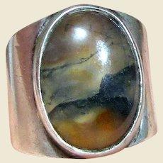 Vintage Sterling Agate Ring Sz 8