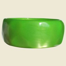 Chunky Apple Green Moonglow Lucite Bangle