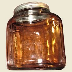Art Deco Country Kitchen Hoosier Cabinet Glass Storage Canaster Jar, Clear