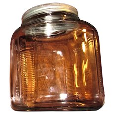 Art Deco Country Kitchen Hoosier Cabinet Glass Storage Canaster Jar, Clear