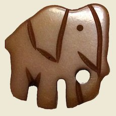 Petite Handcarved Butterscotch Bakelite Elephant Pin