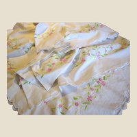 "Charming Vintage 100"" Hand Embroidered Tablecloth"