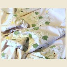 "Exquisite Hand Appliqued 112"" Banquet Tablecloth"