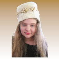 Great 1950's Cossack Inspired Cream Soft Fur Hat