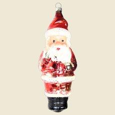 "Vintage Figural Santa Claus Glass Christmas Ornament 5"""