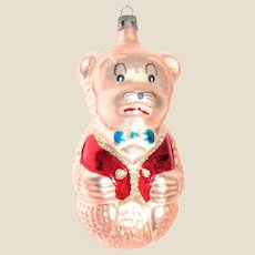 Vintage Figural Animated Bear Glass Christmas Ornament 4 ½""