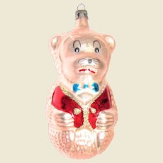 "Vintage Figural Animated Bear Glass Christmas Ornament 4 ½"""