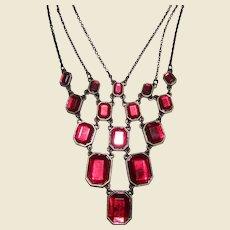 Gorgeous Vintage Red Crystal Bib Necklace