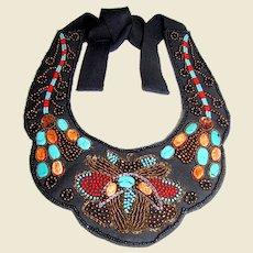 Circa 1980's OAK Hand Beaded Fabric Bib Necklace
