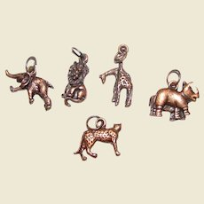 5 Copper 3D Animal Charms