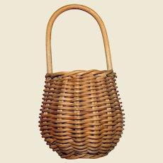 Miniature Vintage Hand Woven Wicker Market Basket