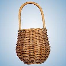 Miniature Vintage Hand Woven Wicker Market Basket