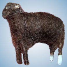 "Hand Made 2 1/4"" Wool Floss Sheep w/ Glass Bead Eyes"