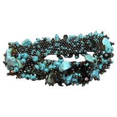 Bunchy Stone & Woven Glass Bead Bracelet w/ Magnetic Clasp