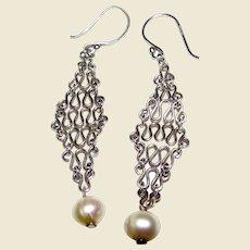 Delicate Sterling Chain Mesh w/ Freshwater Pearl Earrings
