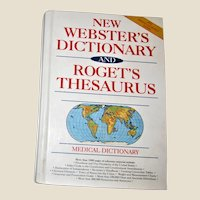 New Webster's Dictionary and Roget's Thesaurus and Medical Dictionary, Hardcover 1992, Nearly New