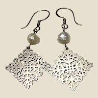 Filigree Sterling & Freshwater Cultured Pearl Dangle Earrings