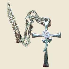 """Sterling Cross w/ Pink Enamel Rose on 16"""" Italian Sterling Chain"""