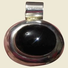 Large Mexican Sterling & Onyx Slide Pendant, 20 Grams