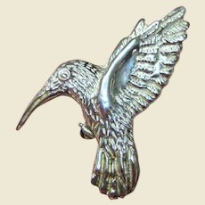 Hand Wrought Sterling Hummingbird Pin/Pendant, 11.4 grams