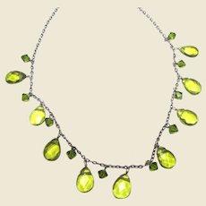 Sterling & Peridot Green Crystal Festoon Necklace
