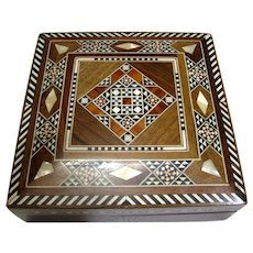 """6"""" Square Hardwood Box with Ornate Bone & Mother of Pearl Inlays"""