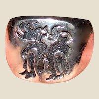 Sterling Kokopelli Dancer Signet Ring Sz 5 1/2