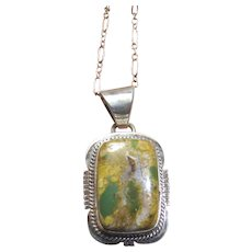 Navajo Boulder Turquoise Sterling Pendant Signed MP w/ Filigree Chain