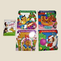 Four Lift the Flap Books - The Christmas: Rocking Horse, Wooden Soldier, Tree Angel and Gingerbread Man Plus Mr. Brown Can Moo! Young Children, Like New