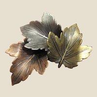 Vintage Tricolor Maple Leaf Pin by K&T